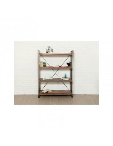 Bibliotheque / etagere LOFT 120cm 4 etageres - Teck recycle INDUS-LOFT-ETAGERE-120