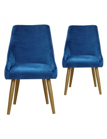 Lot de 2 Fauteuils Fokora Velours Bleu ji809velvetblue