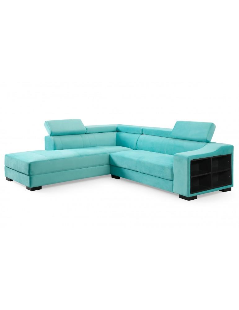 Canapé d'angle en velours Onoz Vert 1195left31744vgreen