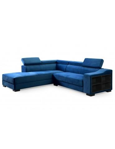 Canapé d'angle en velours Onoz Bleu 1195left31750vblue
