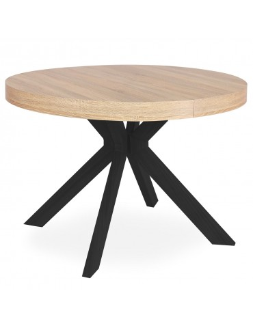 Table ronde extensible Myriade Noir et Chêne Clair at8244bsonoma