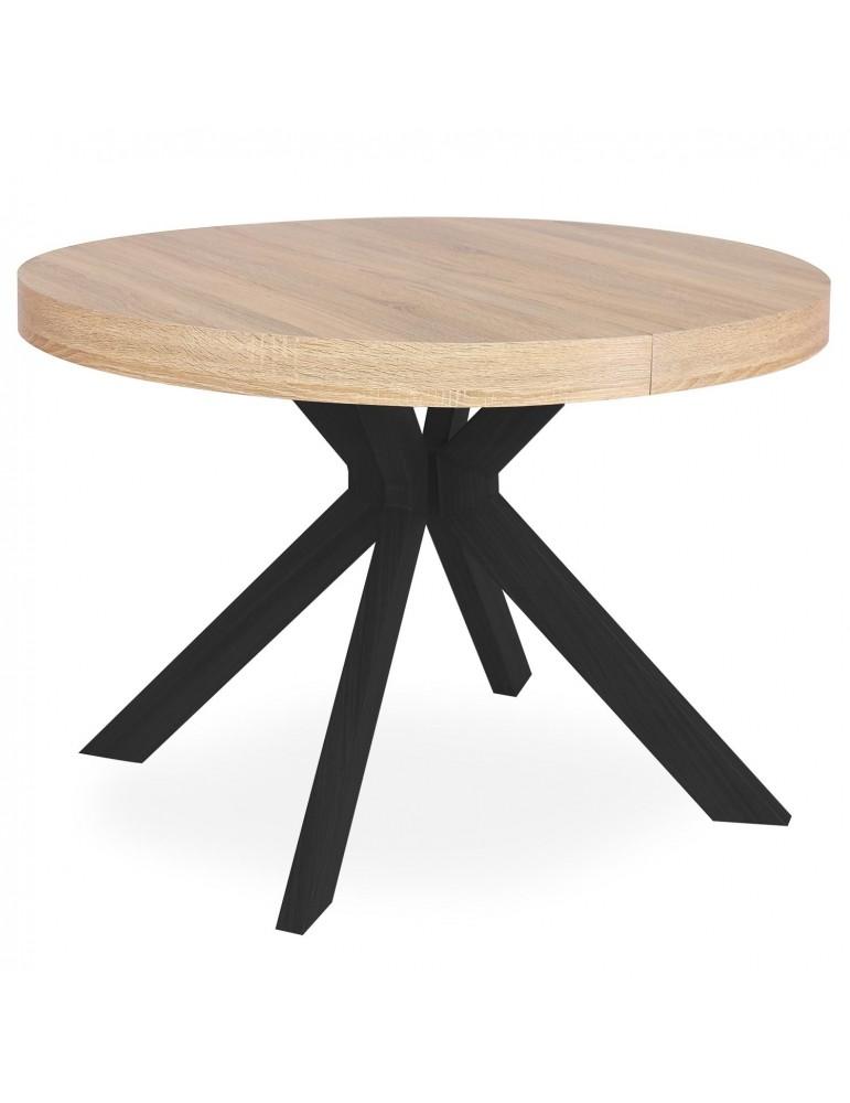 Table ronde extensible Myriade Noir et Chêne Clair at8244bsonoma