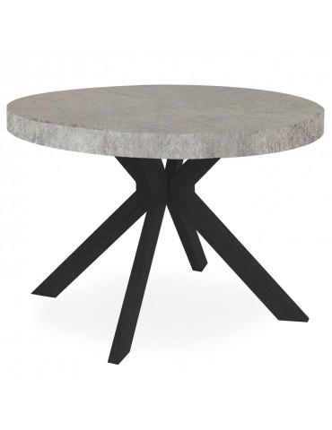 Table ronde extensible Myriade Noir et Effet Béton at8244bconcrete