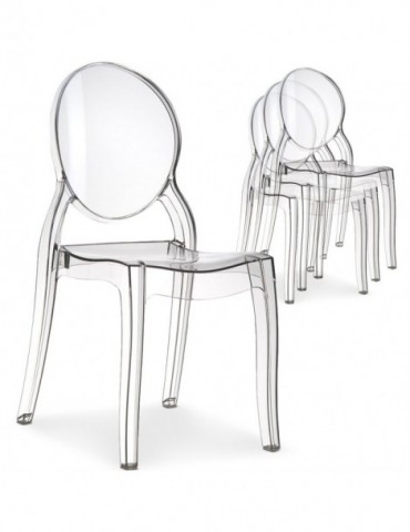 Lot de 4 chaises médaillon Diva Plexi Transparent zs9007lot4transp