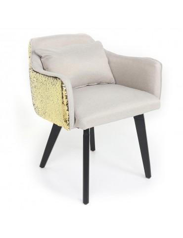 Chaise / Fauteuil Gybson Sequins Tissu Beige et Sequins réversibles Or & Noir lf503026beigepaillettegold