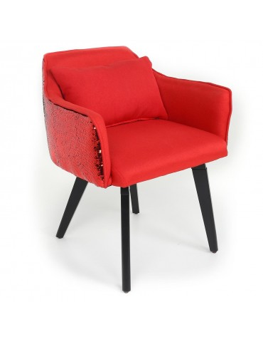 Chaise / Fauteuil Gybson Sequins Tissu Rouge et Sequins réversibles Rouge & Noir lf503028rougepaillettered
