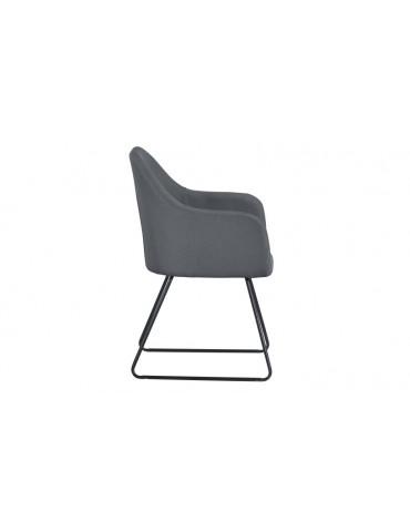 Chaise/Fauteuil Epok Métal Noir et Tissu Gris c1020grey