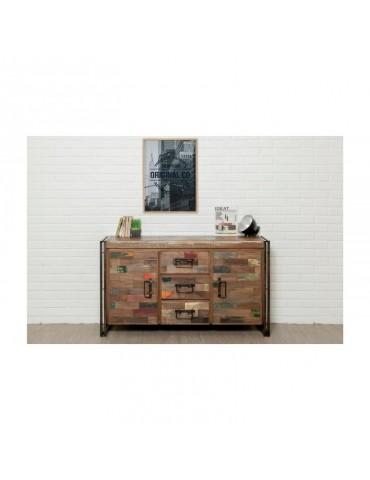 Buffet bois LOFT 2 portes 3 tiroirs - Teck recycle INDUS-LOFT-BUFFETBOIS-2P3T