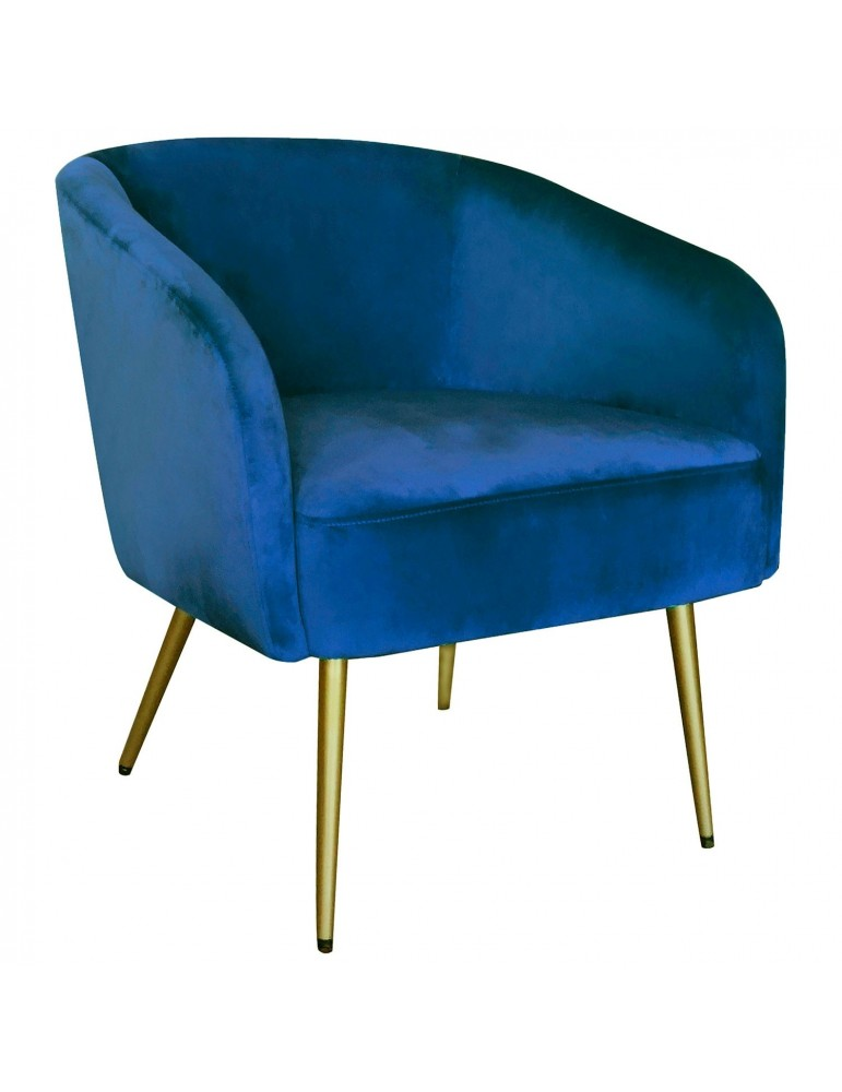 Fauteuil Goldman Velours Bleu Pieds Or lsr19125bluevelvet