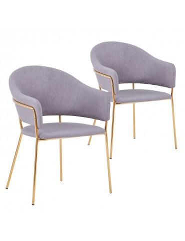 Lot de 2 chaises/fauteuils Ulrick Tissu Gris c1022grey