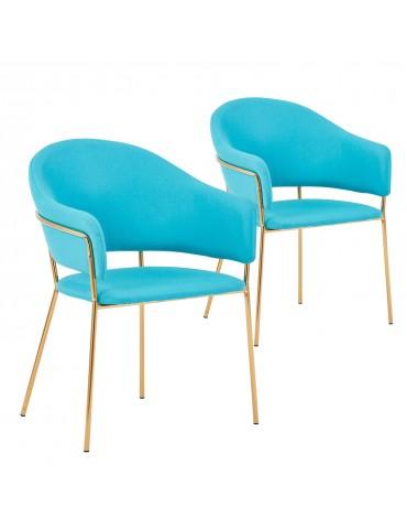 Lot de 2 chaises / fauteuils Ulrick Tissu Bleu c1022blue