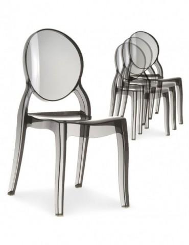 Lot de 4 chaises médaillon Diva Plexi Transparent Fumé zs9007lot4fume