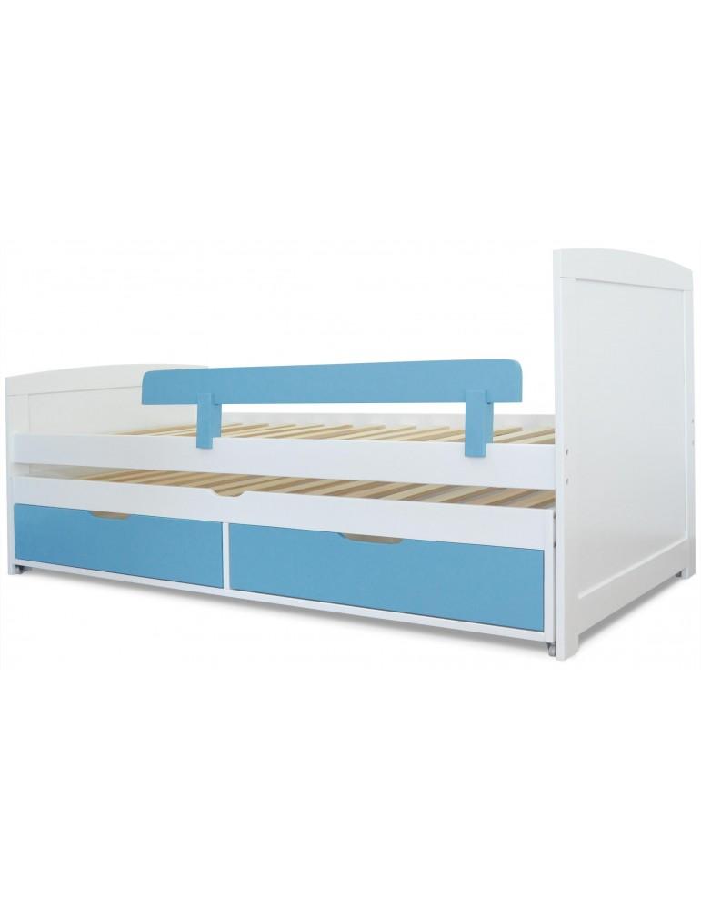 Lit gigogne enfant avec sommiers et tiroirs Patapon Blanc et Bleu gc1623whiteblue