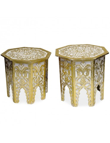 Lot de 2 tables d'appoint Babou Blanc et Or g38722whitegold