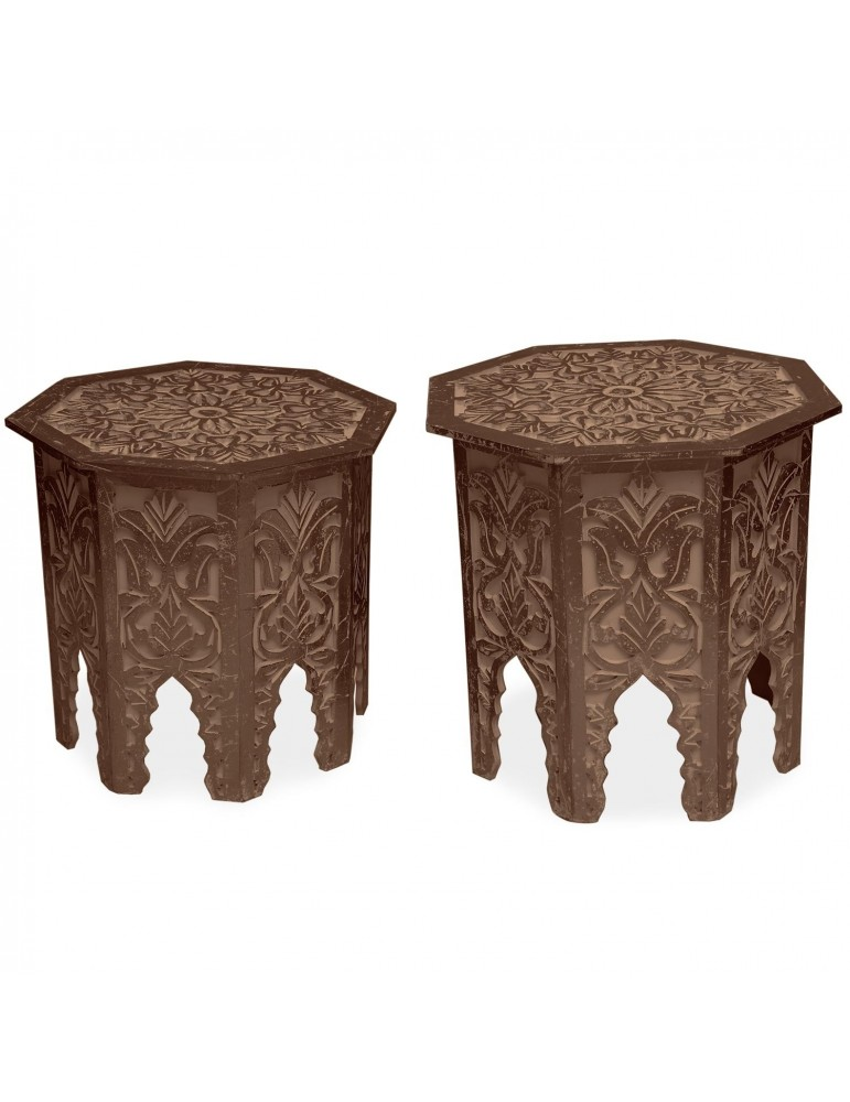 Lot de 2 tables d'appoint Babou Marron g38722browndark
