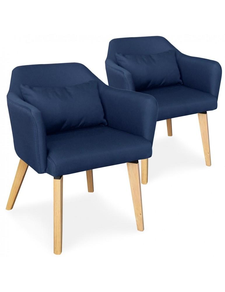 Lot de 2 chaises / fauteuils scandinaves Shaggy Tissu Bleu lsr19117lot2bluefabric