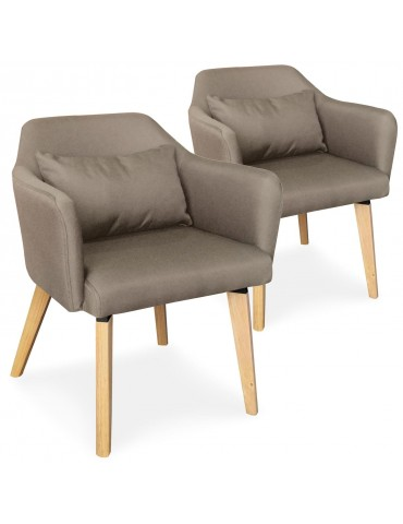 Lot de 2 chaises / fauteuils scandinaves Shaggy Tissu Taupe lsr19117lot2puttyfabric