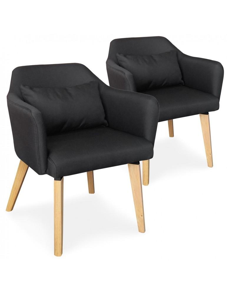 Lot de 2 chaises / fauteuils scandinaves Shaggy Tissu Noir lsr19117lot2blackfabric