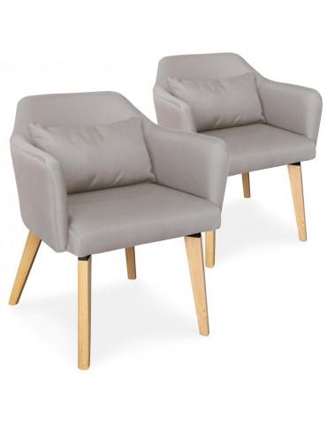 Lot de 2 chaises / fauteuils scandinaves Shaggy Tissu Beige lsr19117lot2beigefabric