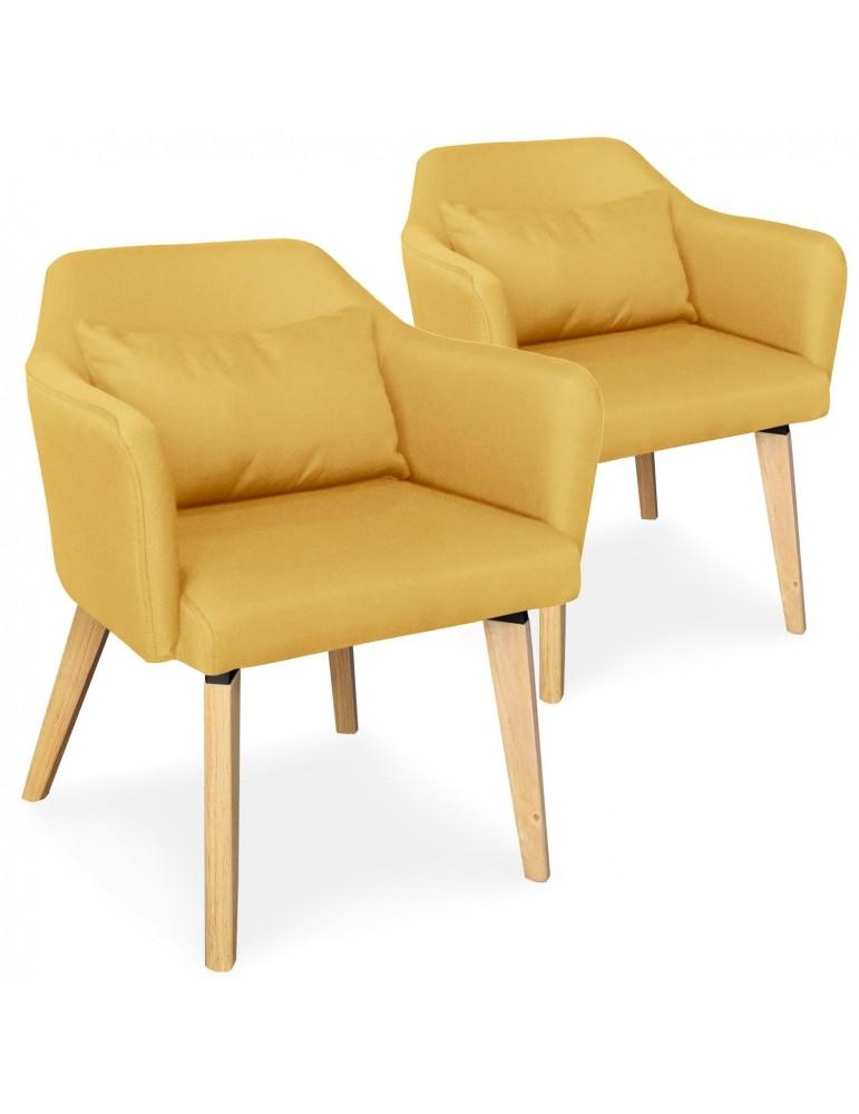 Lot de 2 chaises / fauteuils scandinaves Shaggy Tissu Jaune lsr19117lot2yellowfabric