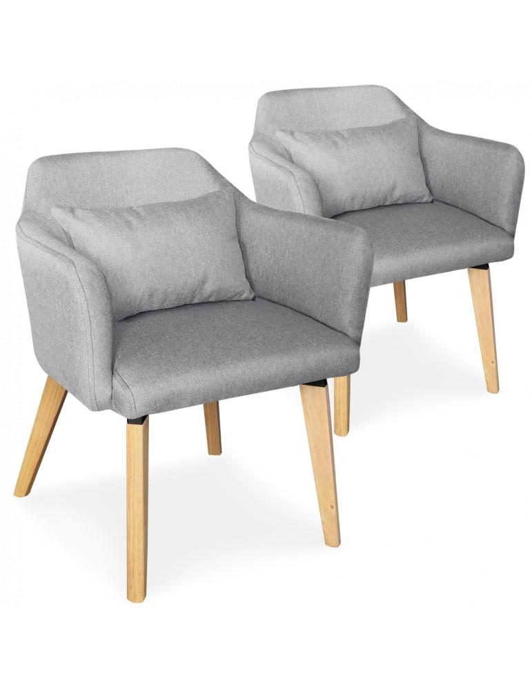 Lot de 2 chaises / fauteuils scandinaves Shaggy Tissu Gris clair lsr19117lot2lightgreyfabric