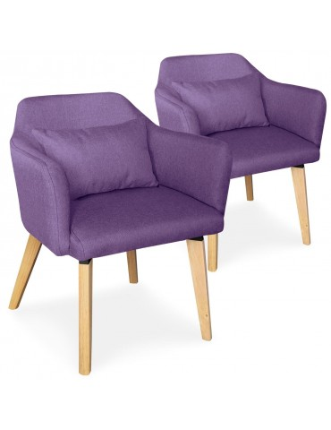 Lot de 2 chaises / fauteuils scandinaves Shaggy Tissu Violet lsr19117lot2purplefabric