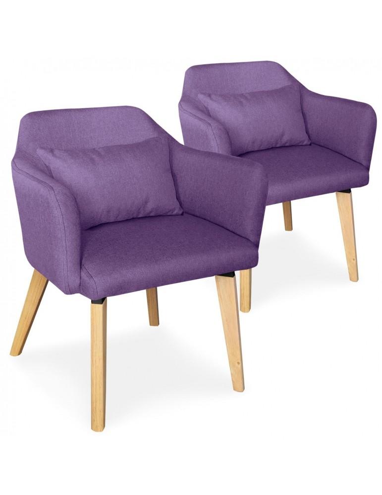 Lot de 2 chaises / fauteuils scandinaves Shaggy Tissu Violet lsr19117lot2purplefabric