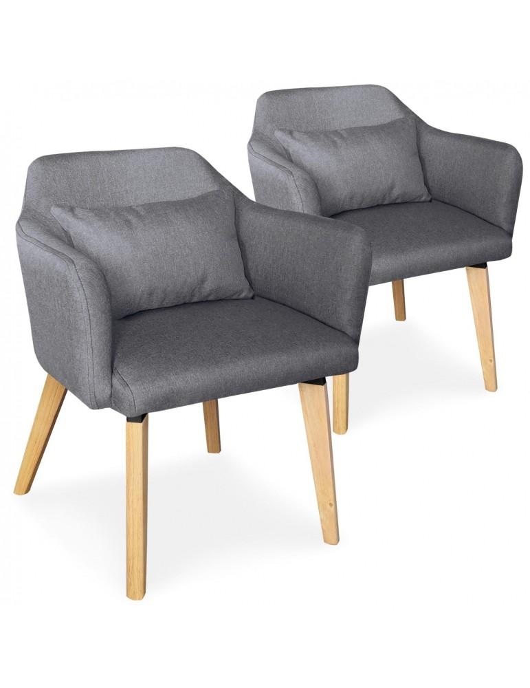 Lot de 2 chaises / fauteuils scandinaves Shaggy Tissu Gris foncé lsr19117lot2darkgreyfabric