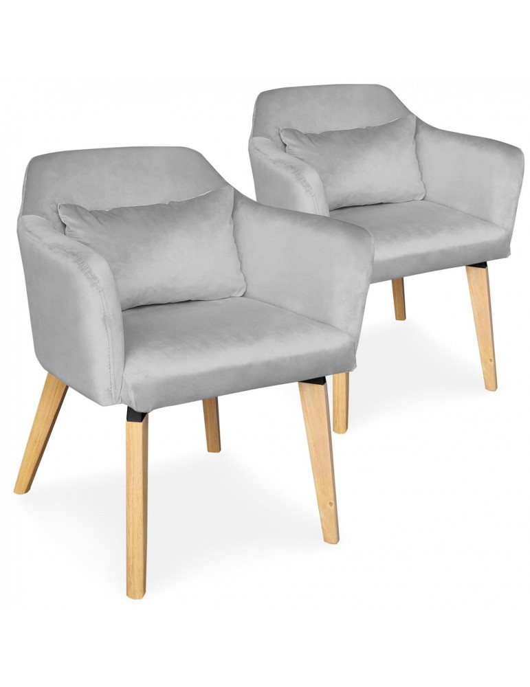 Lot de 2 chaises / fauteuils scandinaves Shaggy Velours Argent lsr19117lot2silvervelvet
