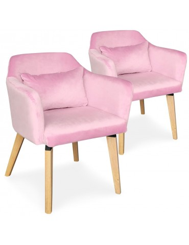 Lot de 2 chaises / fauteuils scandinaves Shaggy Velours Rose lsr19117lot2pinkvelvet