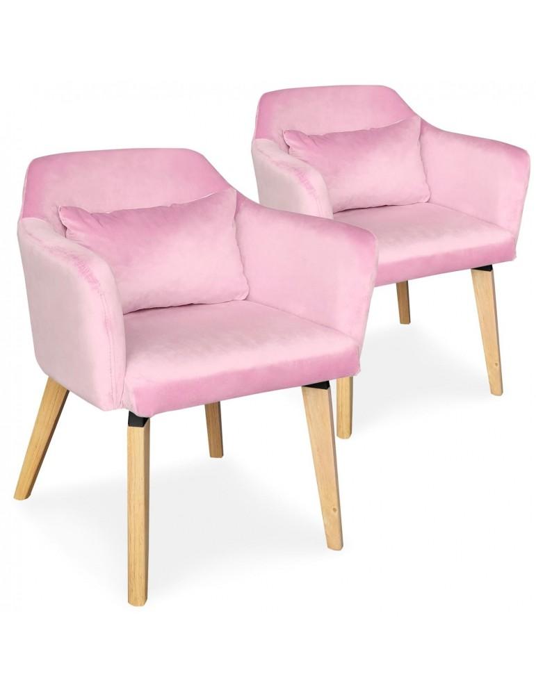 Lot de 2 chaises / fauteuils scandinaves Shaggy Velours Rose lsr19117lot2pinkvelvet
