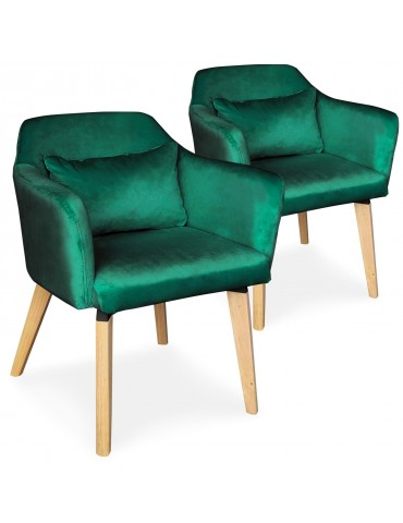 Lot de 2 chaises / fauteuils scandinaves Shaggy Velours Vert lsr19117lot2greenvelvet