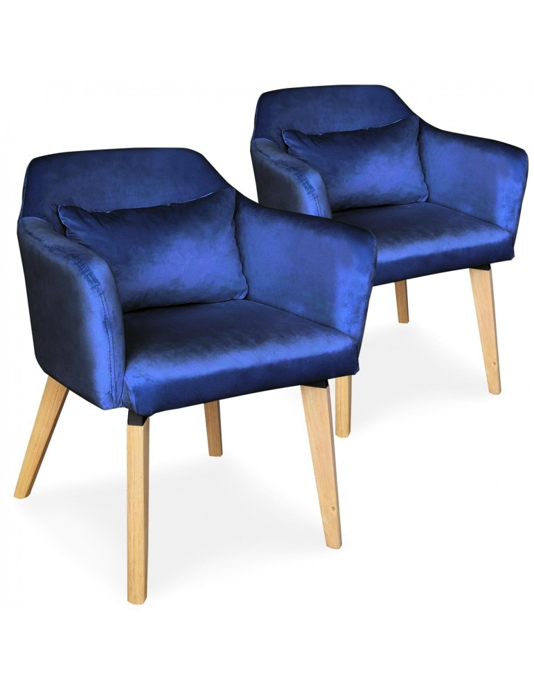 Lot de 2 chaises / fauteuils scandinaves Shaggy Velours Bleu lsr19117lot2bluevelvet