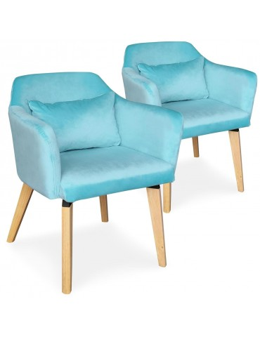 Lot de 2 chaises / fauteuils scandinaves Shaggy Velours Menthe lsr19117lot2mintvelvet