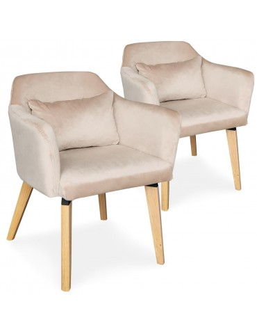 Lot de 2 chaises / fauteuils scandinaves Shaggy Velours Beige lsr19117lot2beigevelvet