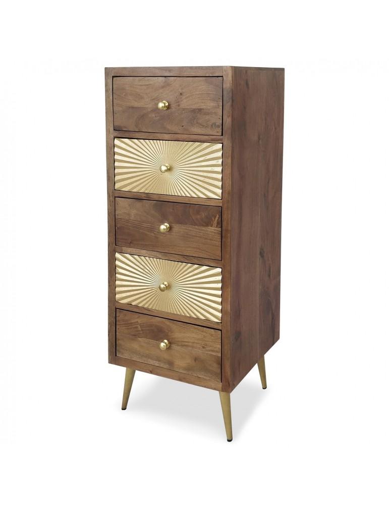 Commode 5 tiroirs Solaris Bois et Or wag004