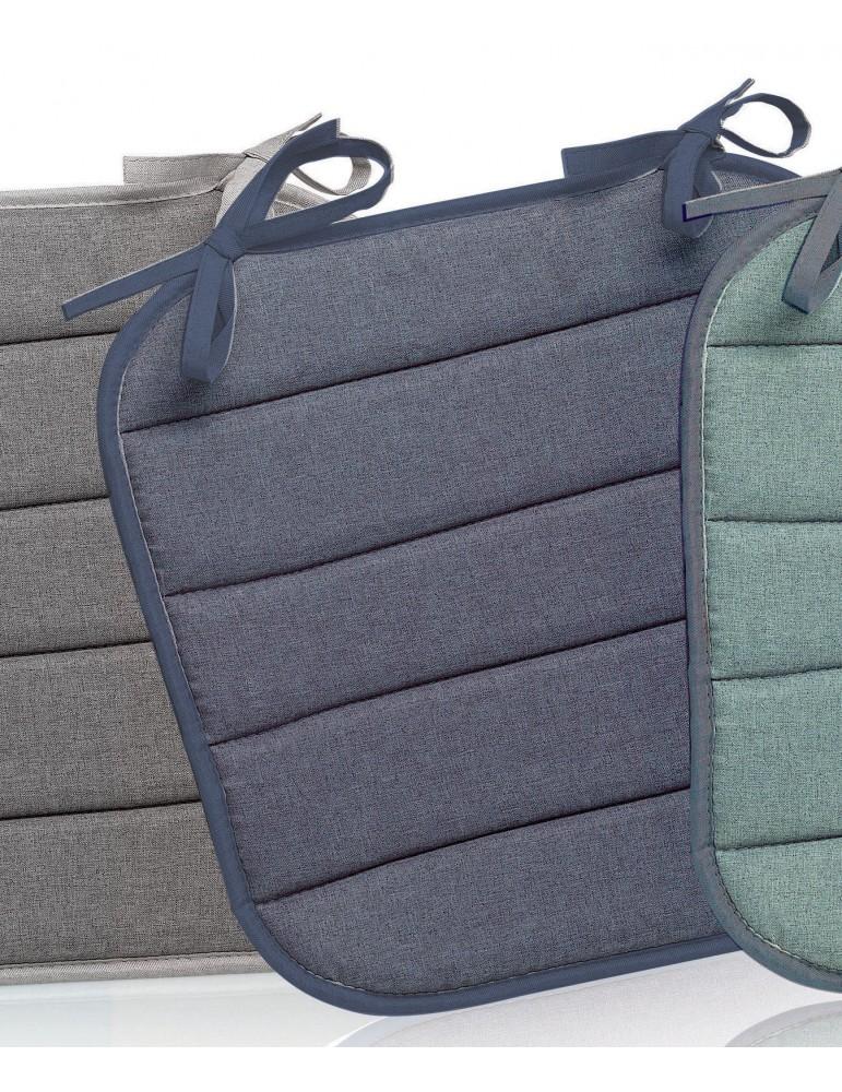 Galette de chaise plate Outdoor Chinée Bleu 37 x 37 x 1 cm 2151063000Les Ateliers du Linge