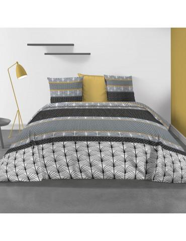Parure de lit 2 personnes Safty Gold avec housse de couette et taies d'oreiller Imprimée 260 x 240 3374000503Les Ateliers du ...