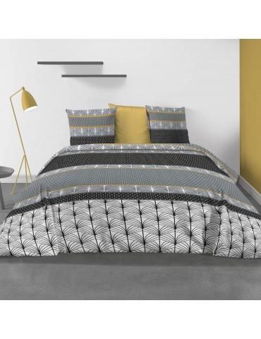 Parure de lit 2 personnes Safty Gold avec housse de couette et taies d'oreiller Imprimée 240 x 220 3370000503Les Ateliers du ...