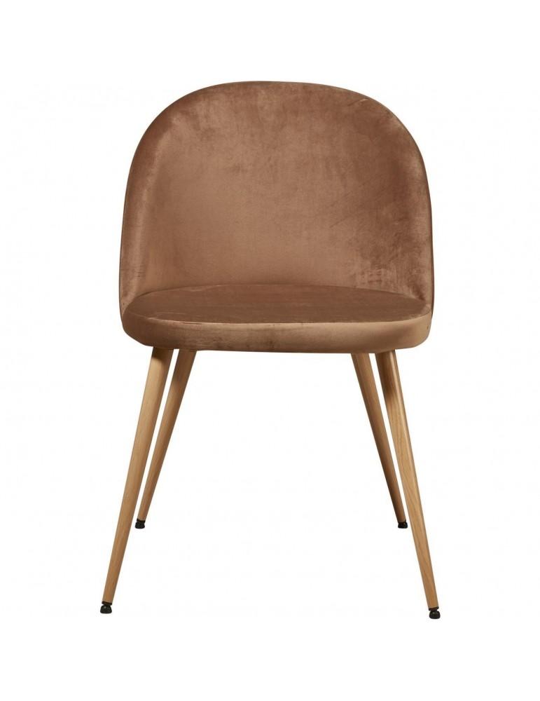 Lot de 4 chaises de sejour velours sean taupe 15603TA