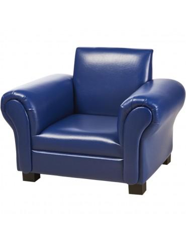 Fauteuil enfant confortable en simili cuir saul bleu 25113BU