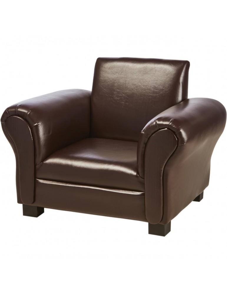 Fauteuil enfant confortable en simili cuir saul chocolat 25113CH