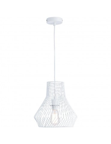 suspension moderne et design en metal facon cage cairn blanc 26625BL