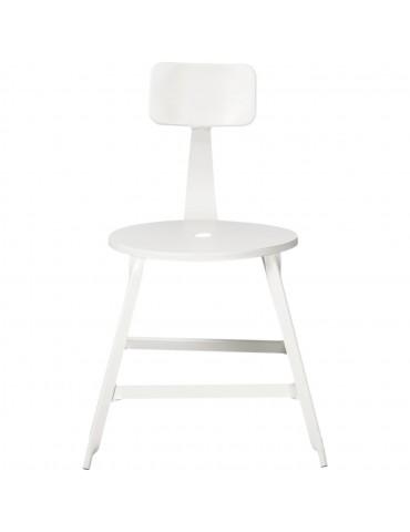 Lot 2 chaises industriel vetro blanc 42702BL