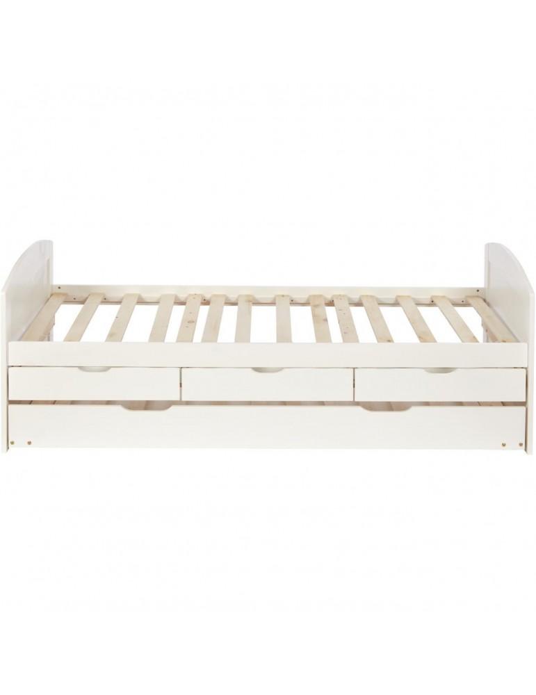 Lit tiroir tendance pour enfant larsen blanc 44150BL