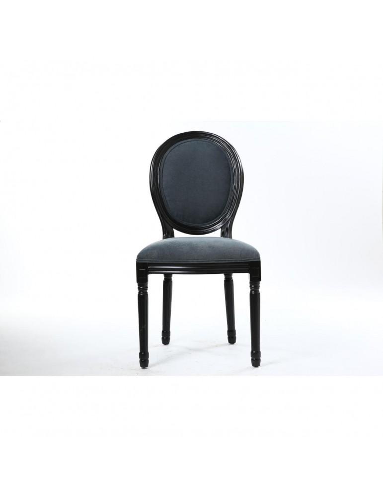 Lot de 2 chaises velours rory noir et gris 47770NG