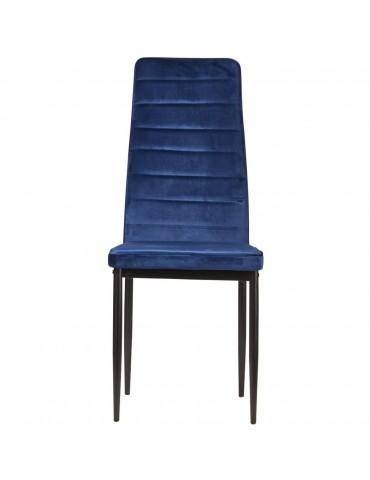 Lot de 4 chaises en velours modernes bree bleu 58206BU
