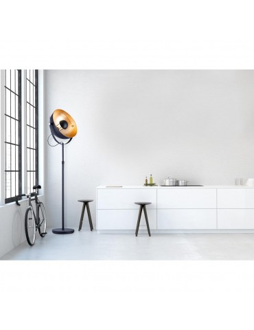 lampadaire design cinema zena noir dore 26639NO
