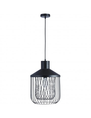 suspension moderne et design en metal facon cage fawn noir 26621NO