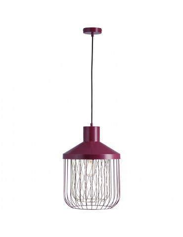 suspension moderne et design en metal facon cage fawn rouge 26621RO